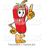 Vector Illustration of a Red Hot Chili Pepper Mascot Pointing Upwards by Toons4Biz