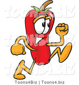 Vector Illustration of a Red Hot Chili Pepper Mascot Running by Toons4Biz