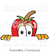 Vector Illustration of a Red Hot Chili Pepper Mascot Scared, Peeking over a Surface by Toons4Biz