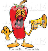 Vector Illustration of a Red Hot Chili Pepper Mascot Screaming into a Megaphone by Toons4Biz