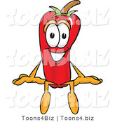 Vector Illustration of a Red Hot Chili Pepper Mascot Sitting by Toons4Biz