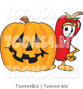 Vector Illustration of a Red Hot Chili Pepper Mascot Standing with a Carved Halloween Pumpkin by Toons4Biz
