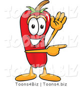 Vector Illustration of a Red Hot Chili Pepper Mascot Waving and Pointing by Toons4Biz