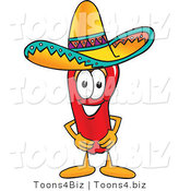 Vector Illustration of a Red Hot Chili Pepper Mascot Wearing a Sombrero by Toons4Biz