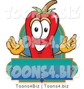 Vector Illustration of a Red Hot Chili Pepper Mascot with a Blank Label by Toons4Biz