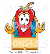 Vector Illustration of a Red Hot Chili Pepper Mascot with a Blank Tan Label by Toons4Biz