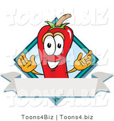 Vector Illustration of a Red Hot Chili Pepper Mascot with a Blue Diamond and Blank Label by Toons4Biz