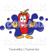 Vector Illustration of a Red Hot Chili Pepper Mascot with a Blue Paint Splatter by Toons4Biz