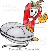 Vector Illustration of a Red Hot Chili Pepper Mascot with a Computer Mouse by Toons4Biz
