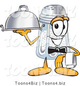 Vector Illustration of a Salt Shaker Mascot Dressed As a Waiter and Holding a Serving Platter by Toons4Biz