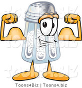 Vector Illustration of a Salt Shaker Mascot Flexing His Arm Muscles by Toons4Biz