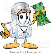 Vector Illustration of a Salt Shaker Mascot Holding a Dollar Bill by Toons4Biz