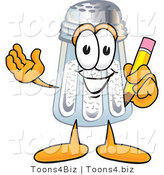 Vector Illustration of a Salt Shaker Mascot Holding a Pencil by Toons4Biz