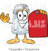 Vector Illustration of a Salt Shaker Mascot Holding a Red Sales Price Tag by Toons4Biz