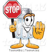 Vector Illustration of a Salt Shaker Mascot Holding a Stop Sign by Toons4Biz