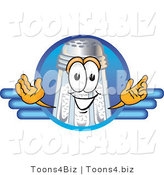 Vector Illustration of a Salt Shaker Mascot on a Blank Blue Business Logo by Toons4Biz
