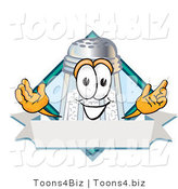 Vector Illustration of a Salt Shaker Mascot on a Blank Blue Label with a Banner and Diamond by Toons4Biz