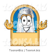 Vector Illustration of a Salt Shaker Mascot on a Blank Tan Label, Logo or Sign by Toons4Biz