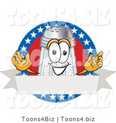 Vector Illustration of a Salt Shaker Mascot over a Blank White Banner on an American Themed Logo by Toons4Biz