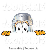 Vector Illustration of a Salt Shaker Mascot Peeking over a Surface by Toons4Biz