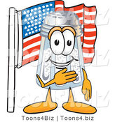 Vector Illustration of a Salt Shaker Mascot Pledging Allegiance to an American Flag by Toons4Biz