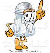 Vector Illustration of a Salt Shaker Mascot Pointing Upwards by Toons4Biz