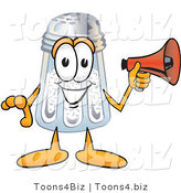 Vector Illustration of a Salt Shaker Mascot Screaming into a Megaphone by Toons4Biz