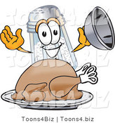 Vector Illustration of a Salt Shaker Mascot Serving a Thanksgiving Turkey on a Platter by Toons4Biz