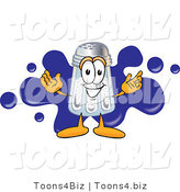 Vector Illustration of a Salt Shaker Mascot Standing in Front of a Blue Paint Splatter on a Business Logo by Toons4Biz