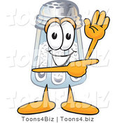 Vector Illustration of a Salt Shaker Mascot Waving and Pointing by Toons4Biz