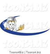 Vector Illustration of a Salt Shaker Mascot Waving and Standing Behind a Blue Dash on an Employee Nametag or Business Logo by Toons4Biz