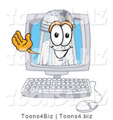 Vector Illustration of a Salt Shaker Mascot Waving from Inside a Computer Screen by Toons4Biz