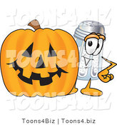 Vector Illustration of a Salt Shaker Mascot with a Carved Halloween Pumpkin by Toons4Biz