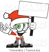 Vector Illustration of a Santa Mascot Holding a Blank Sign by Toons4Biz