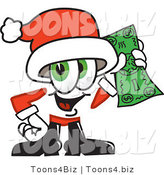 Vector Illustration of a Santa Mascot Holding a Dollar Bill by Toons4Biz