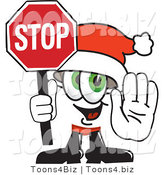 Vector Illustration of a Santa Mascot Holding a Stop Sign by Toons4Biz