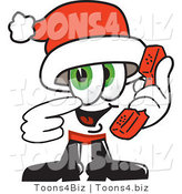 Vector Illustration of a Santa Mascot Holding a Telephone by Toons4Biz