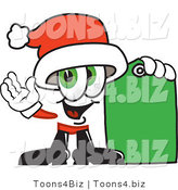 Vector Illustration of a Santa Mascot Holding a Yellow Sales Price Tag by Toons4Biz