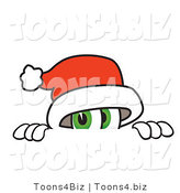 Vector Illustration of a Santa Mascot Peeking over a Surface by Toons4Biz