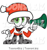 Vector Illustration of a Santa Mascot Screaming into a Megaphone by Toons4Biz