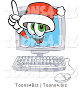 Vector Illustration of a Santa Mascot Waving from Inside a Computer Screen by Toons4Biz