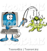 Vector Illustration of a Shocked Cartoon Computer Mascot with an Octopus on His Fishing Line by Toons4Biz