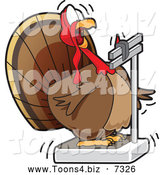 November 29th, 2013: Vector Illustration of a Shocked Fat Turkey Bird Looking at Its Weight on a Scale by Toons4Biz