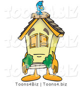 Vector Illustration of a Sleepy Cartoon Home Mascot Sleeping with a Bird on Roof by Toons4Biz