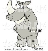 Vector Illustration of a Smiling Cartoon Rhinoceros School Mascot Character by Toons4Biz