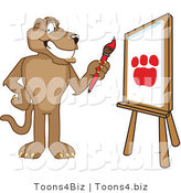 Vector Illustration of a Smiling Cougar Mascot Painting a Paw Print by Toons4Biz