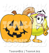 Vector Illustration of a Softball Girl Mascot by a Halloween Pumpkin by Toons4Biz
