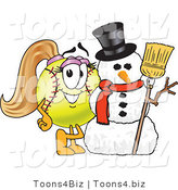 Vector Illustration of a Softball Girl Mascot by a Snowman by Toons4Biz