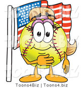 Vector Illustration of a Softball Girl Mascot by an American Flag by Toons4Biz