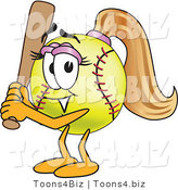 Vector Illustration of a Softball Girl Mascot Holding a Bat by Toons4Biz